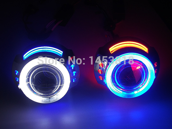 High Quality!! 3.0HQI 3'' inch Projector Lens Light Double CCFL HID Bi xenon Double Angel Eyes Headlight High Low Beam H1 H4 H7 royalin car styling hid h1 bi xenon headlight projector lens 3 0 inch full metal w 360 devil eyes red blue for h4 h7 auto light