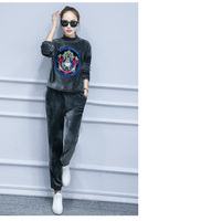 Special Offer Winter Plus Size Women Velvet Two Piece Suit Fashion Sweater Thickened Velvet Leisure Suit