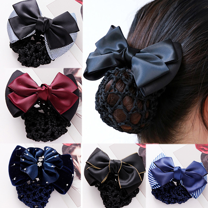 Women Business Attire Bow Net Pocket Hair Holder Hairpins Elegant Headwear Barrettes Hair Clips Headbands Lady Hair Accessories
