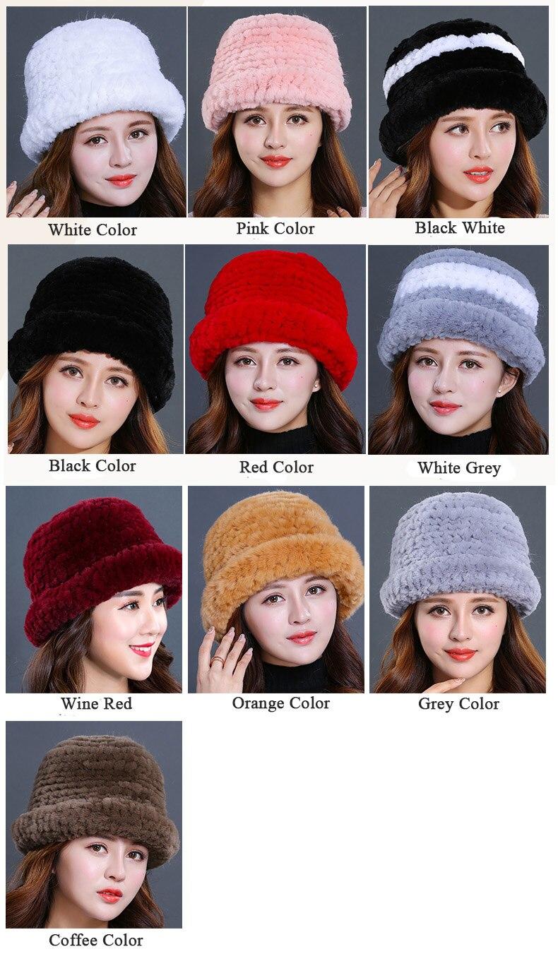 Luxury Natural Fur hats Fur Bucket Hat Russian Real Rex Rabbit Fur Hat Female Solid Women\`s Winter Cap Ladies (6)