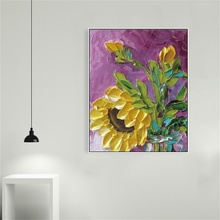 Laeacco Nordic Watercolor Graffiti Sunflowers Posters and Prints Wall Pictures Kids Room Art Canvas Calligraphy Painting