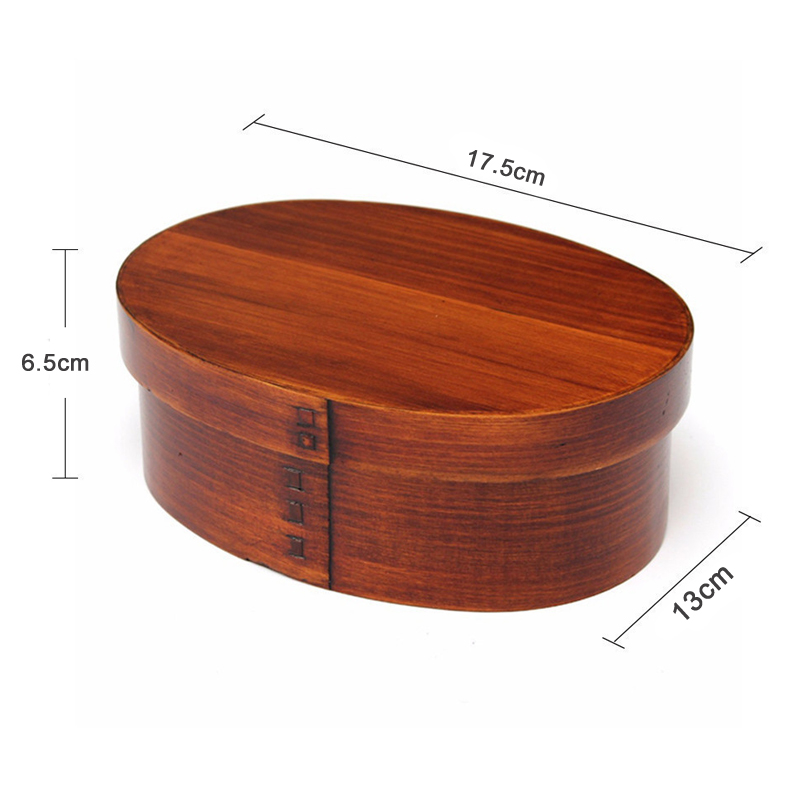 Japanese Bento Sushi Box Eco-friendly Wooden Bento Lunch Boxes Food Container with 3 Compartments Small Portable Oval Lunchbox for Kids Picnic Tableware (11)