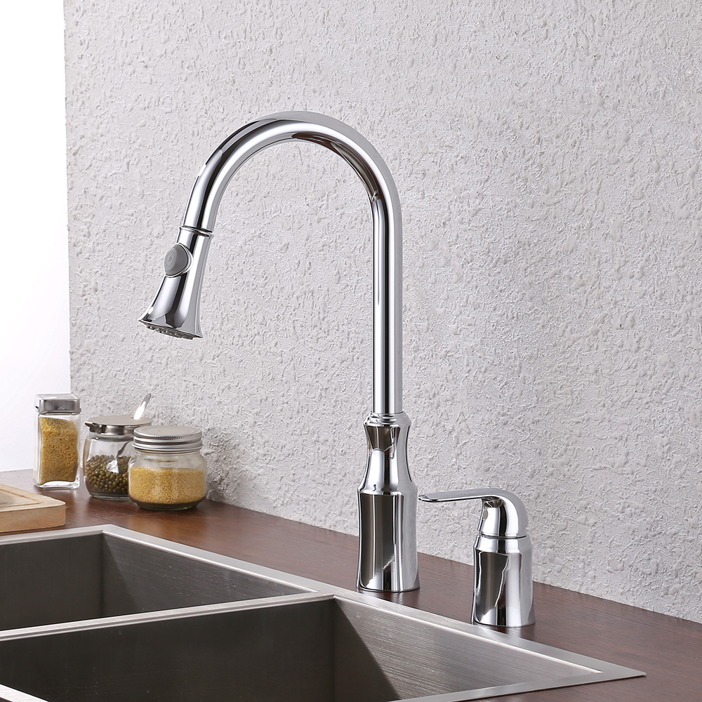 US $52.99 |KES BRASS Pulldown Kitchen Faucet Single Handle 2 Hole Swivel  High Arc Gooseneck Pull Down Sprayer Head Silver Chrome, L6980LF-in Kitchen  ...