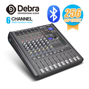 Professional Debra Audio PRO 6 Channel with 256 DSP Sound Effects Bluetooth Studio Mixer Audio - DJ Sound Controller Interf