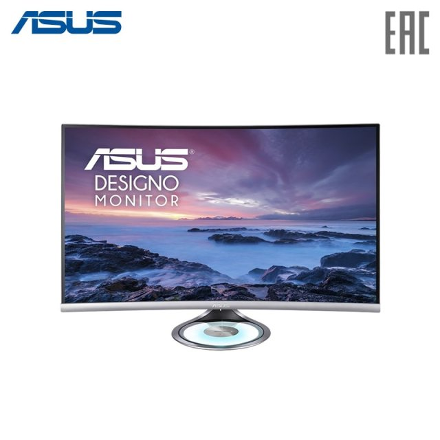 "Монитор ASUS 31,5"" MX32VQ Silver Curved VA/LED/2560x1440/4ms/178 *-178 */300 cd-m/100000000:1/+ DP/+ HDMI/+ MM/+ USB"
