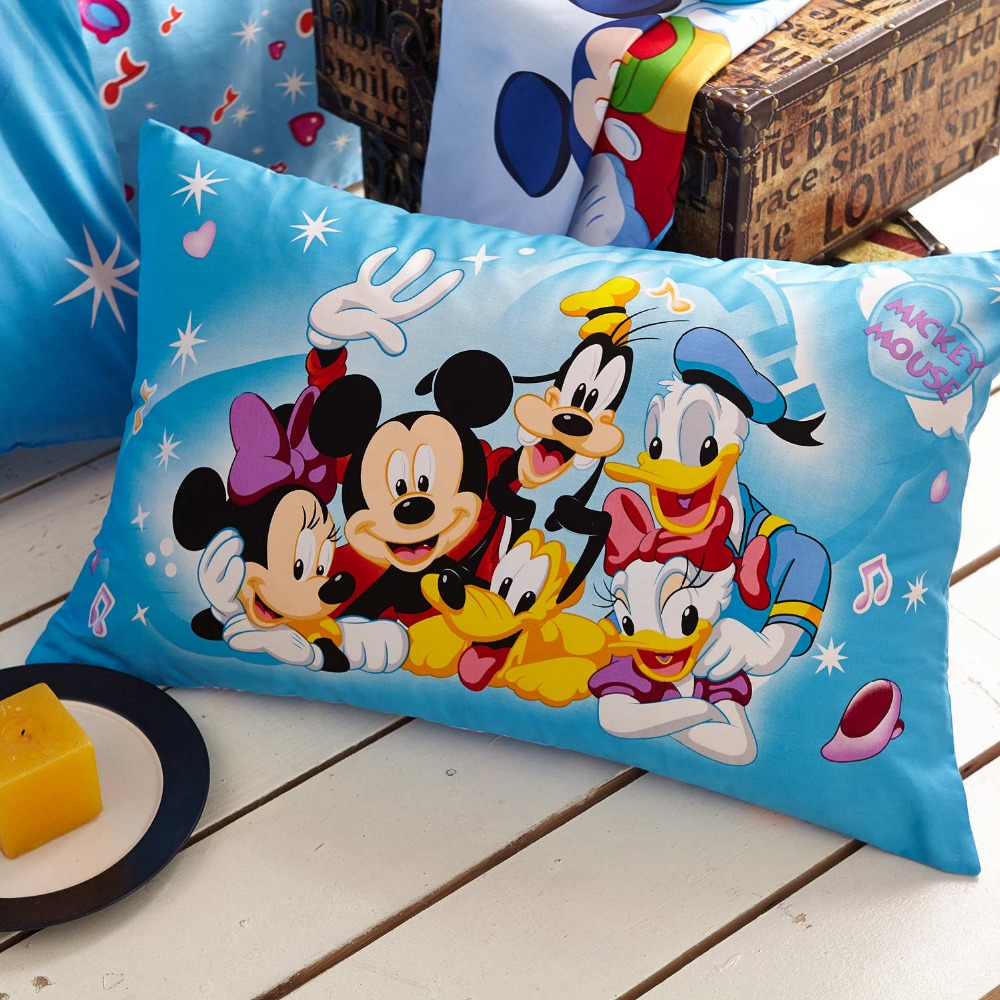 Blaue Disney Cartoon Mickey Minnie Maus Donald Duck Goofy Bettwäsche