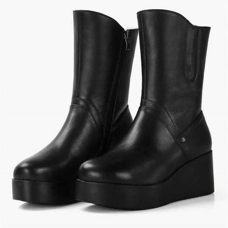 Femme Noir Éclair Hiver Cuir Véritable Morazora Top Rond Femmes Bout Laine Neige forme Chaussures Nouveau Fermeture Plate En 2018 Cheville Qualité Bottes SxwSqnO1z