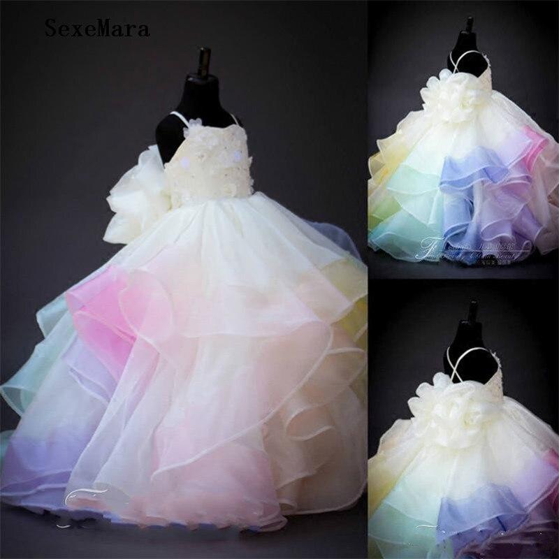 Arc-en-ciel fleur fille robes dentelle 3D Floral Applique perlée à plusieurs niveaux première robe d'anniversaire robes de bal tenue de soirée pour les filles