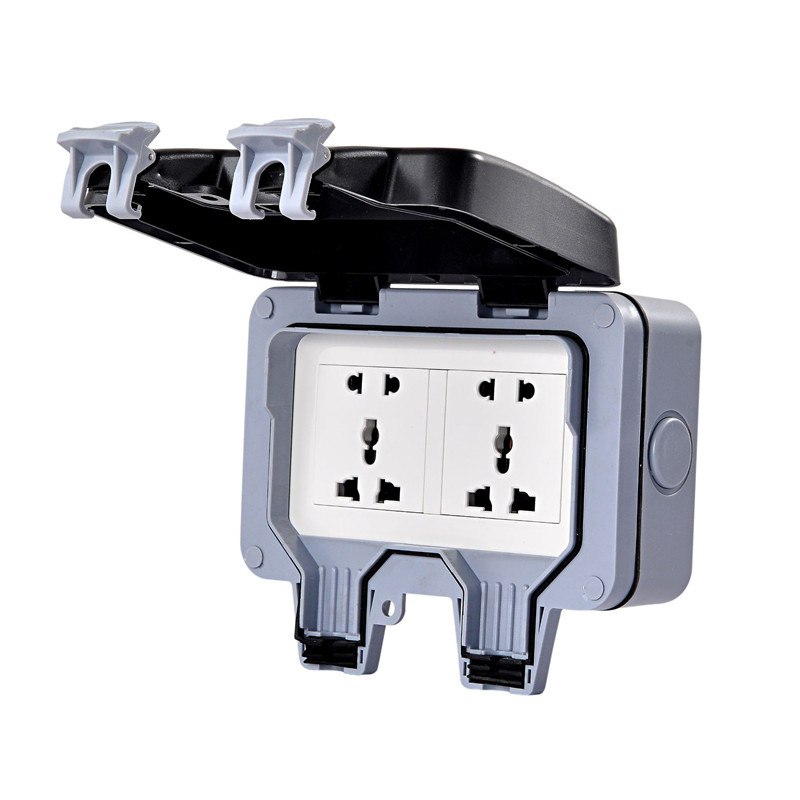 IP66 Waterproof 2 Gang 1 Way Universal Wall Socket