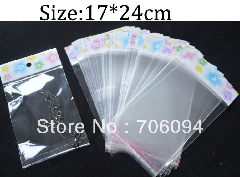 17 24cm Thickness 0 08mm 500pcs Clear Self Adhesive Seal Poly Opp Plastic Bag With Header