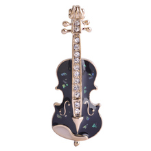 Enamel and Crystal Cello Brooch