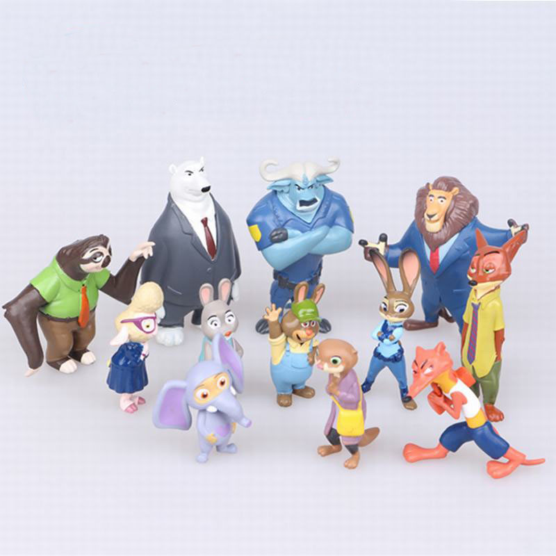 Tatalia 12pcs/Set Zootopia Toys Action Figure Doll Toy PVC Movie Figure Toys Rabbit Judy Cop Fox Nick Cartoon Brinquedos image