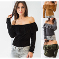 Plus Size Fashion S~XL  Bottoming Solid Pullover Sexy Slash Neck Velvet Strapless off shoulder Thin women Winter Autumn Tops