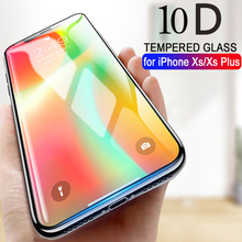 10D Curved Full Cover Screen Protector For iPhone 6 6S 7 Plus 8 plus Tempered Glass For iPhone XS MAX X XR XS Protective Glass