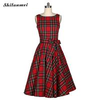 Vintage Party Women S 60s 50s Sundress A Line Dress Plaid Sleeveless Bowknot Swing Audrey Hepburn