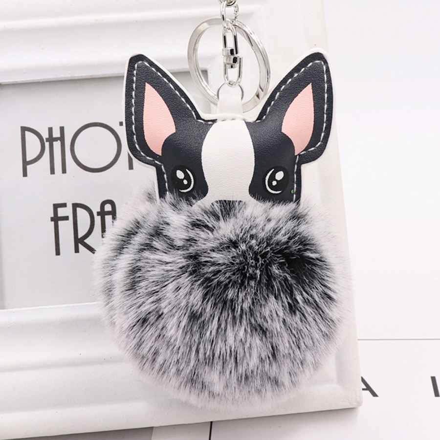Peluche conejo piel bola llavero de Bulldog Francés pompón llavero Pu cuero Animal perro llavero bolsa Charm Trinket Chaveiros