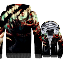 Funny Japan Anime Mens Jackets 2018 Fashon Tokyo Ghoul Hoodies Harajuku Thick Tracksuits Gothic Winter Zipper Coat For Men