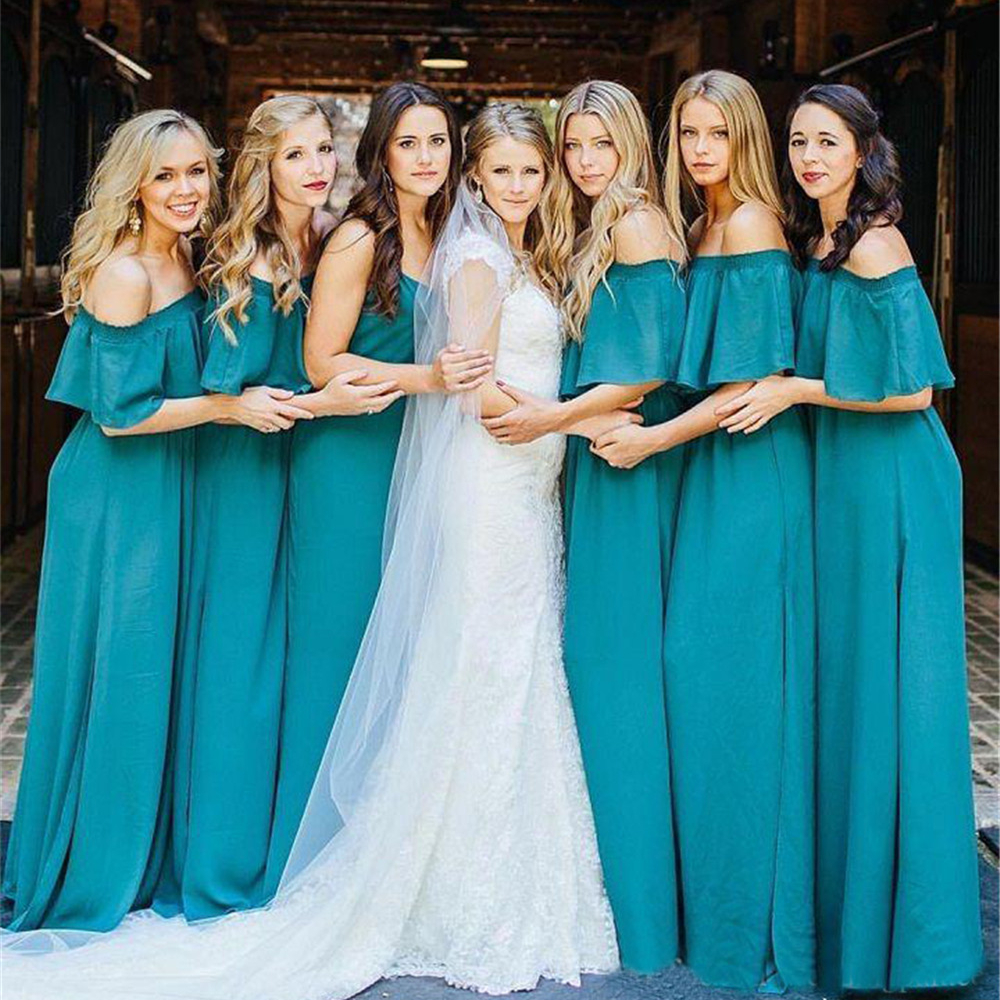 Hot Selling Long Bridesmaid Dresses Boat Neck Off The Shoulder A Line Elegant Wedding Party Dress 2019 High Quality Women Gowns