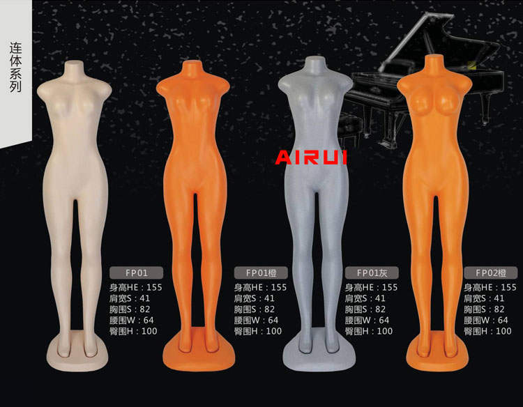 New Style Full Body Mannequin Plastic Female and Male Mannequins Without Head On Sale