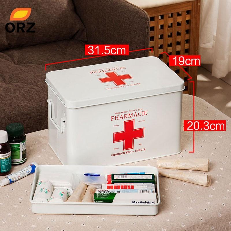 ORZ Multi-layered Family Medicine Metal Medical Box Medical First Aid  Storage Box Storage Medical Gathering