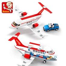 SLUBAN 0365 City Air Plane Airport Airplane Bus Building Blocks Brick Compatible Technic Playmobil Toys For Children