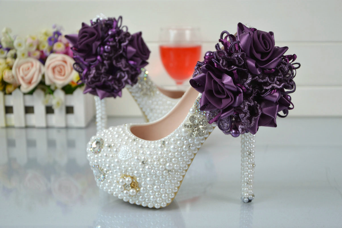Purple Lace Flower Handmade White High Heeled Shoes Waterproof