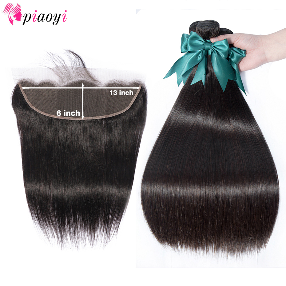 Piaoyi Straight Bundles With 13 6 Lace Frontal Remy Human Hair Bundles With Closure Brazilian Hair