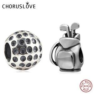 Сумка Choruslove для гольфа с шариками, бусины из стерлингового серебра 925, Подходит для Pandora, браслет для самостоятельного изготовления ювелирны...