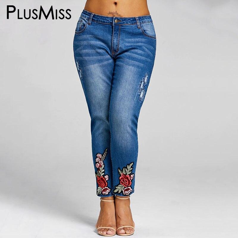 PlusMiss Plus Taille 5XL Floral Broderie Jeans Femme Femmes Vêtements Brodé Crayon Denim Pantalon Grande Taille 2018 Dames Maman