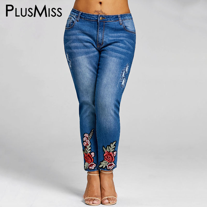Luxury Large Size Women Pants Fashion Leisure Embroidered Female Jeans Trousers Frayed Washed Jeans ...