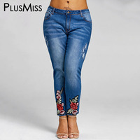 PlusMiss Plus Size 5XL Floral Embroidery Jeans Femme Women Clothing Embroidered Pencil Denim Pants Large Size