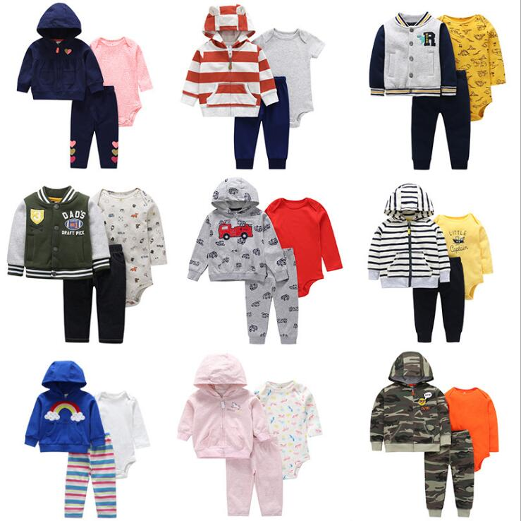 Newborn Baby Clothing Set 2019 Autumn Winter Spring 3PCS Tops Coat Sweater+Pants+bodysuit Infant Toddler Boy girl clothes outfit