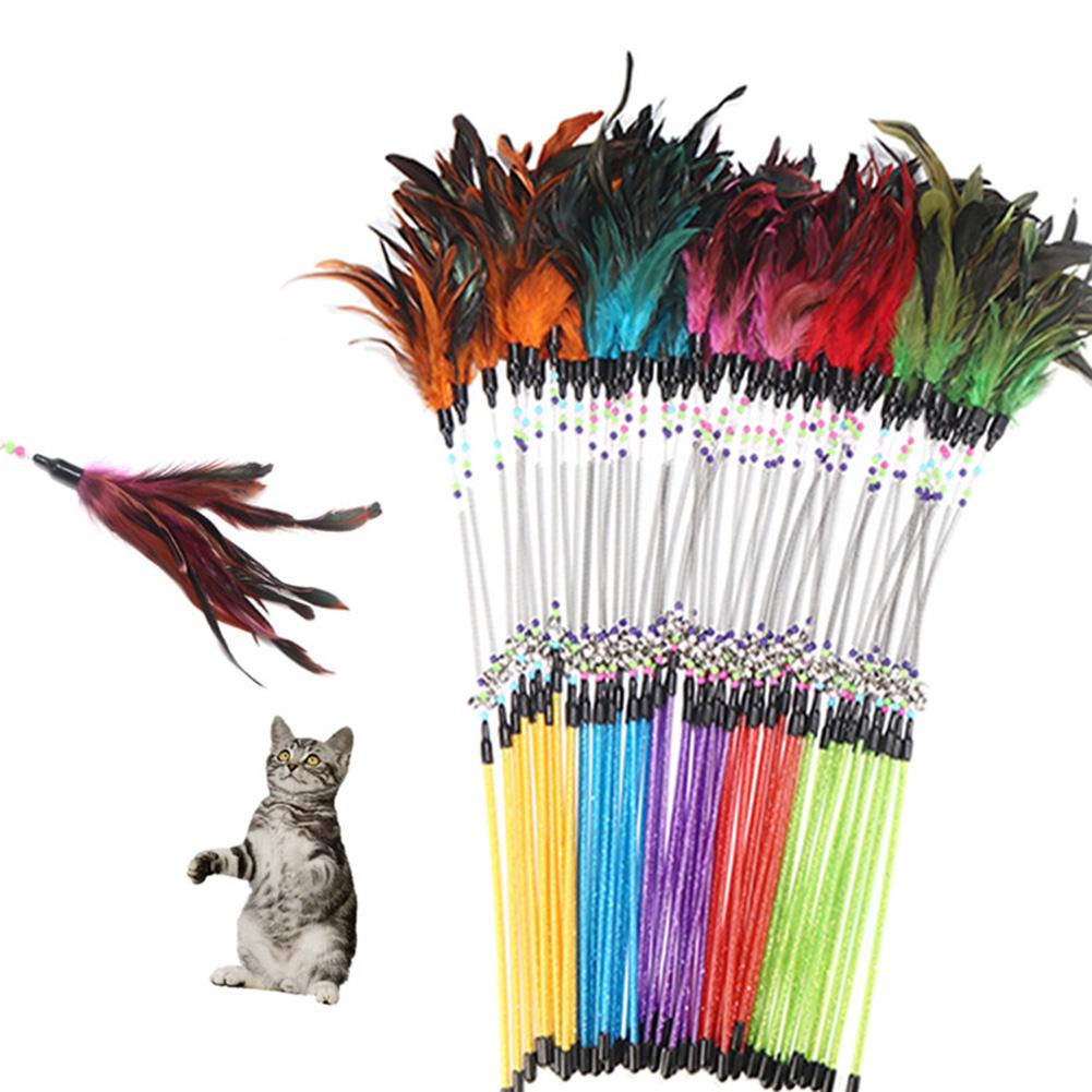 Pet <font><b>Cat</b></font> <font><b>Feather</b></font> Spring <font><b>Stick</b></font> Teaser Kitten Interactive Bell Rod Wand Playing <font><b>Toy</b></font> image