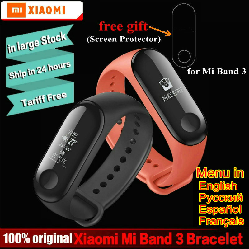 Original Xiaomi mi band 3 miband 3 instant message callerID waterproof OLED Screen Weather forecast VS mi band 2 Smart Bracelet