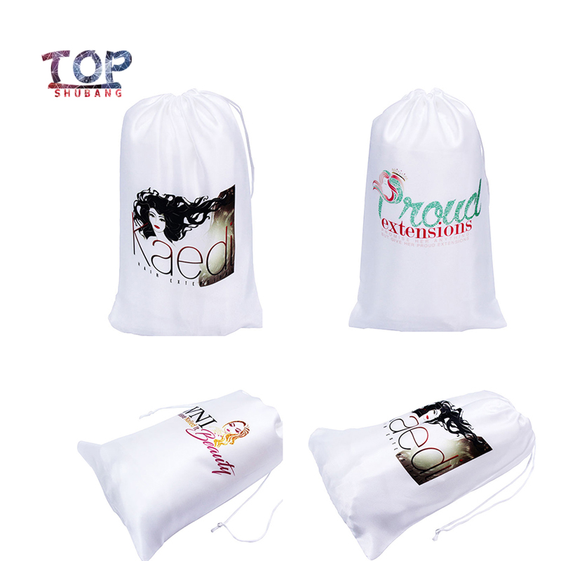 Customized Logo Wig Bags Satin Silk White Bags Drawstring Hair Bags Packaging Hair Extension Packaging Bags