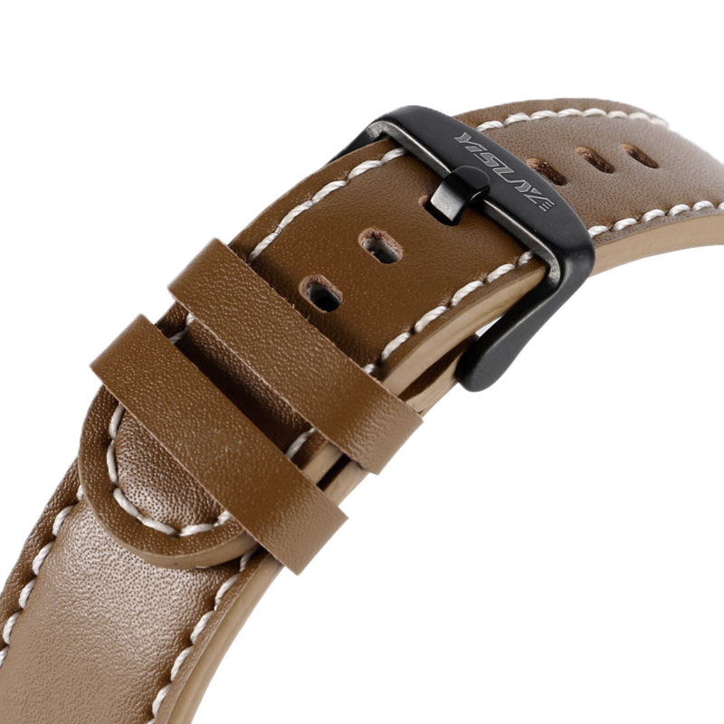 YISUYA 22mm Soft Strap Watch Band Brown Smooth Watchband Bracelet Genuine Leather Replacement Fashion + 2 Spring Bars Pin Buckle банкетка шарм 1