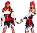 Las mujeres Traje de Pirata de Moda Sexy de Encaje Off-The-Hombro Vestido Con Capucha Roja de Halloween Pirata Del Caribe traje