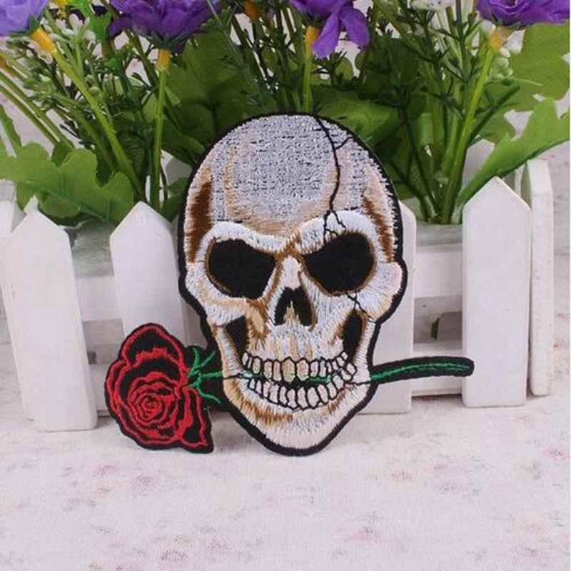 1 pièces Punk Rock fer sur patchs lettre crâne Patch Biker pas cher patchs brodés pour vêtements autocollants vêtement bricolage Applique