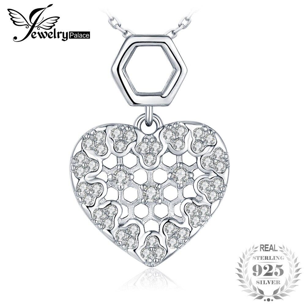 Anhänger Jewelrypalace Zirkonia Hexagon Honeycomb Hohl Herz Anhänger Für Frauen 925 Sterling Silber Schmuck Nicht Enthalten Eine Kette