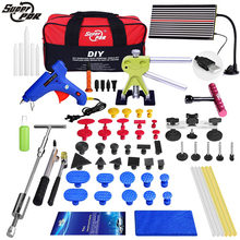 PDR tool kit Paintless Dent Repair Dent removal Tools LED Lamp Reflector Board slide hammer pulling bridge glue gun for car tool