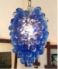 Luxury Blue Living Room Deco LED Modern Art Blown Glass Bubble Chandelier