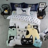 ラブリー猫漫画キッズ寝具セットベッドリネン3dの寝具シート布団カバー枕カバーフルcnクイーンサイズ100%