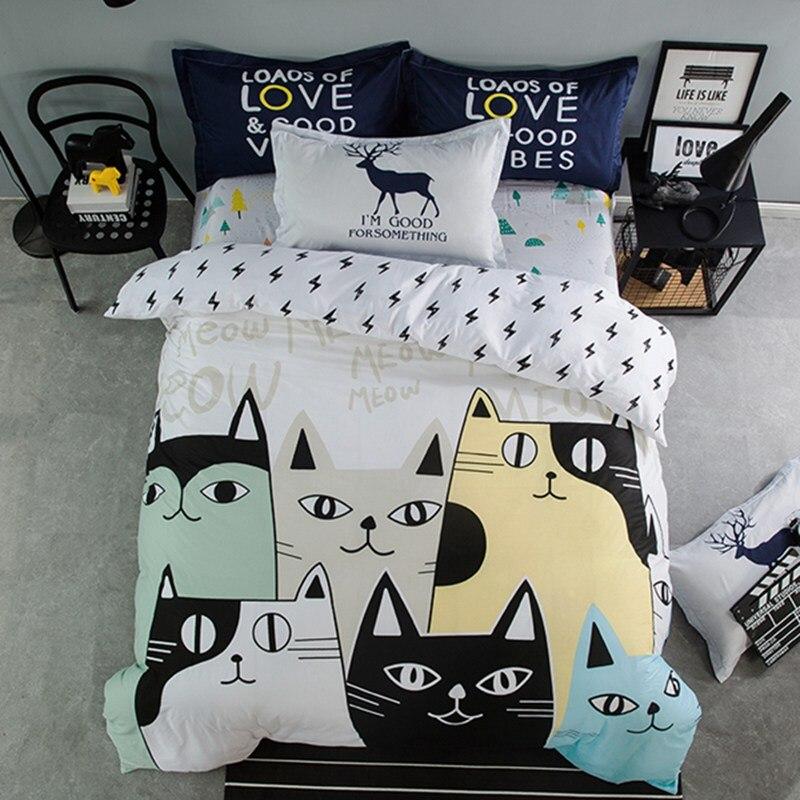 Lovely cat cartoon kids bedding set Bed Linen 3d bedding sheet duvet cover pillowcases twin Queen king size 100% Cotton