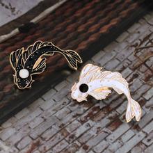 Różowy biały czarny Koi broszka śliczne Goldfish emalia Pin Denim Lapel Fish BadgeFamily Kid błogosławieństwo prezenty przyjaciele biżuteria podkreślająca osobowość tanie tanio XEDZ Ze stopu cynku Broszki TRENDY XZ357-XZ408 Moda Unisex Zwierząt Metal