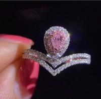 Vecalon Фирменная новинка оригинальный Роскошные ювелирные изделия стерлингового серебра 925 груша розовый 5A Цирконий CZ сверкающий камень Свад
