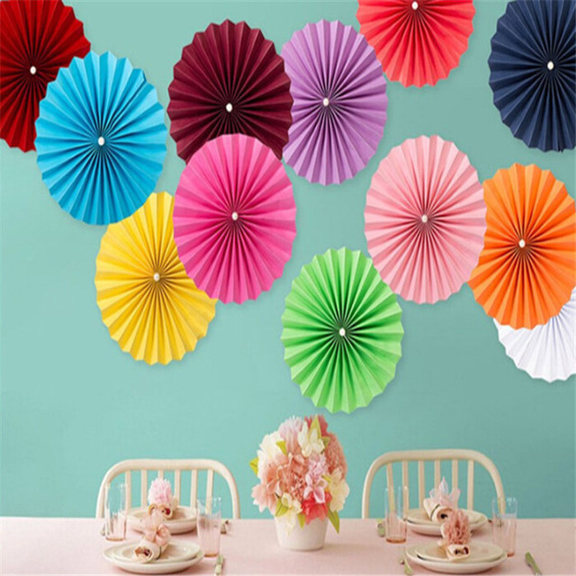 New 15cm 1PCS Decorative Wedding Paper Crafts Flower Origami Fan DIY Birthday Party Decorations