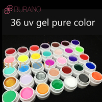 Burano 36colors/ set choose pure \glitter power\sequins color uv gel nail art tips shiny cover extension manicure gel nail