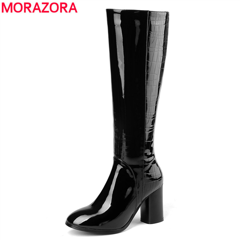 MORAZORA Plus size 34-45 New high quality genuine leather boots women high heels autumn winter knee high boots ladies booties plus size 34 43 winter autumn women soft leather knot low heels lovely knee high boots 3colors pink ladies fashion female shoes