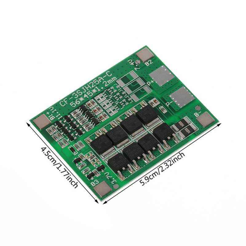 30A 3 S Carregador de Bateria de Polímero de Lítio Protecção Bordo 3 Serial 12V 3pcs 18650 3.7 Li-ion De Carga Proteger módulo 45*56*3.5mm