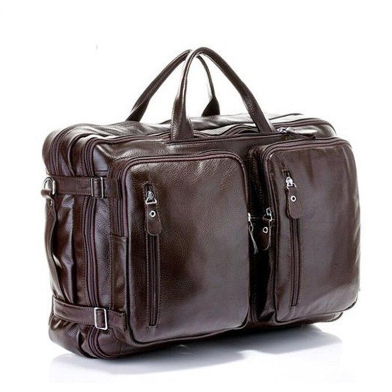 Plus haute qualité peau de vache multifonctionnel sac d'ordinateur portable d'affaires homme double épaule Messenger voyage grande capacité portable sac